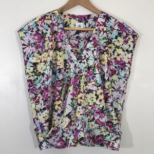 CAbi Purple Floral Eden Wrap Blouse